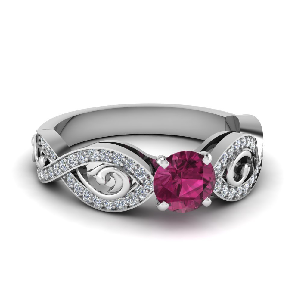 Beautiful Pink Sapphire Stone Engagement Ring In 14K White Gold