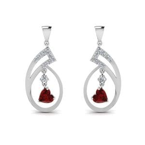 Beautiful Ruby Heart Drop Earring