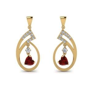 Drop Earring With Ruby