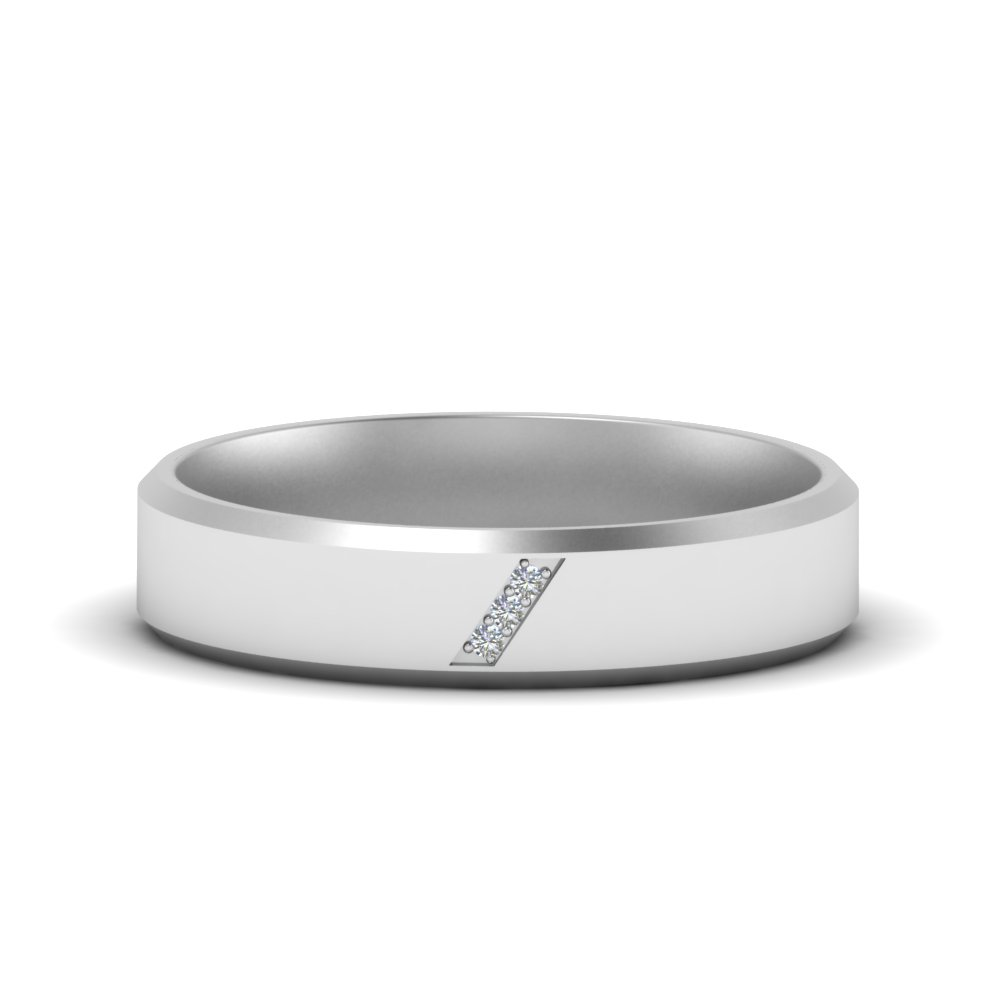 Beveled Mens 3 Stone Wedding Ring