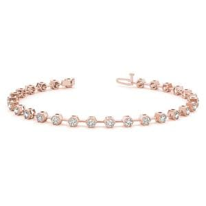 18K Rose Gold Bezel Diamond Link Bracelet