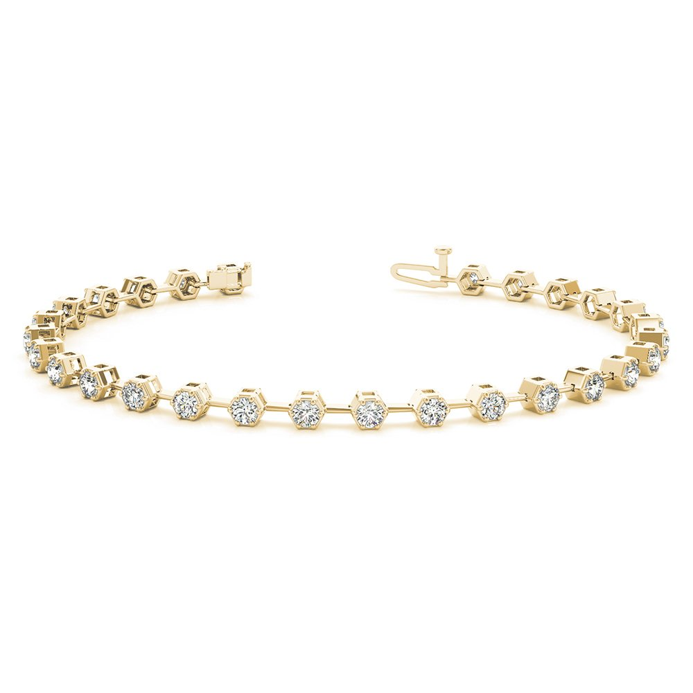 18K Yellow Gold Bezel Diamond Link Bracelet