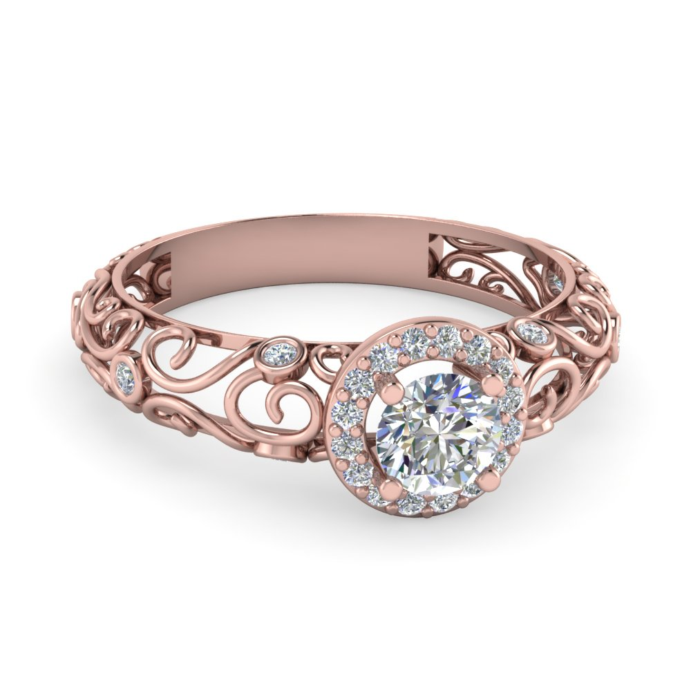Bezel Filigree Diamond Halo Ring