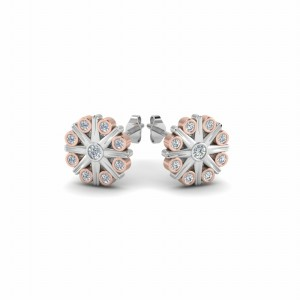 Bezel Flower Stud Earring for Women