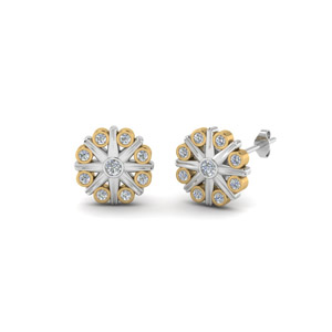 Bezel Flower Stud Diamond Earring 2 Tone In 14K Yellow Gold