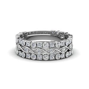 Bezel Infinity Diamond Stack Band