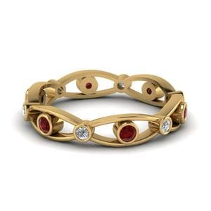 Bezel Set Diamond Custom Wedding Women Band With Ruby In 14K Yellow Gold