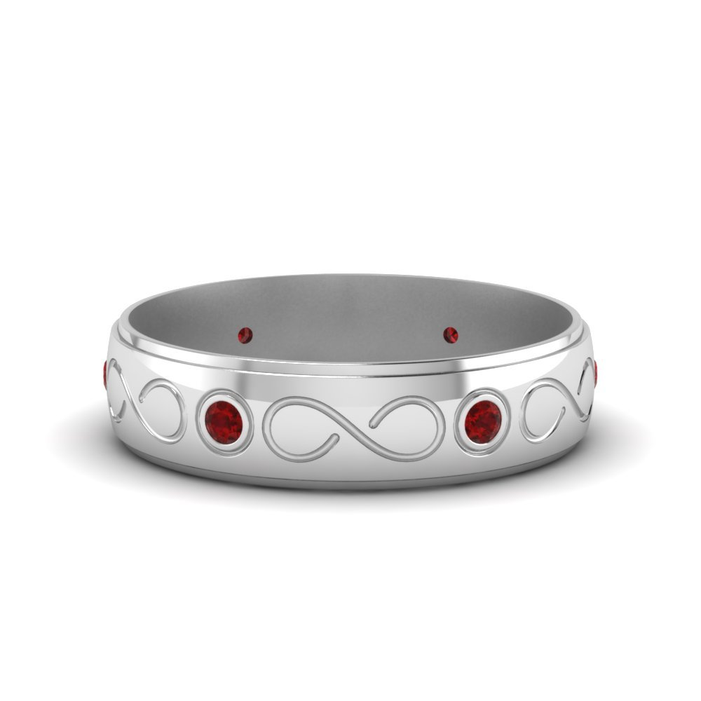 ruby white gold wedding band