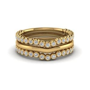Bezel Trio Diamond Stackable Curve Band