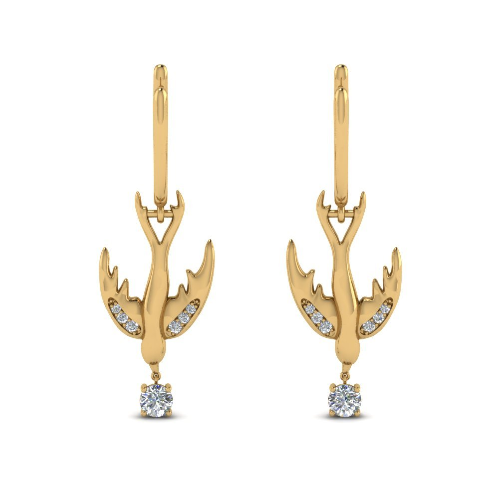 Bird Design Diamond Drop Earring In 14K Yellow Gold