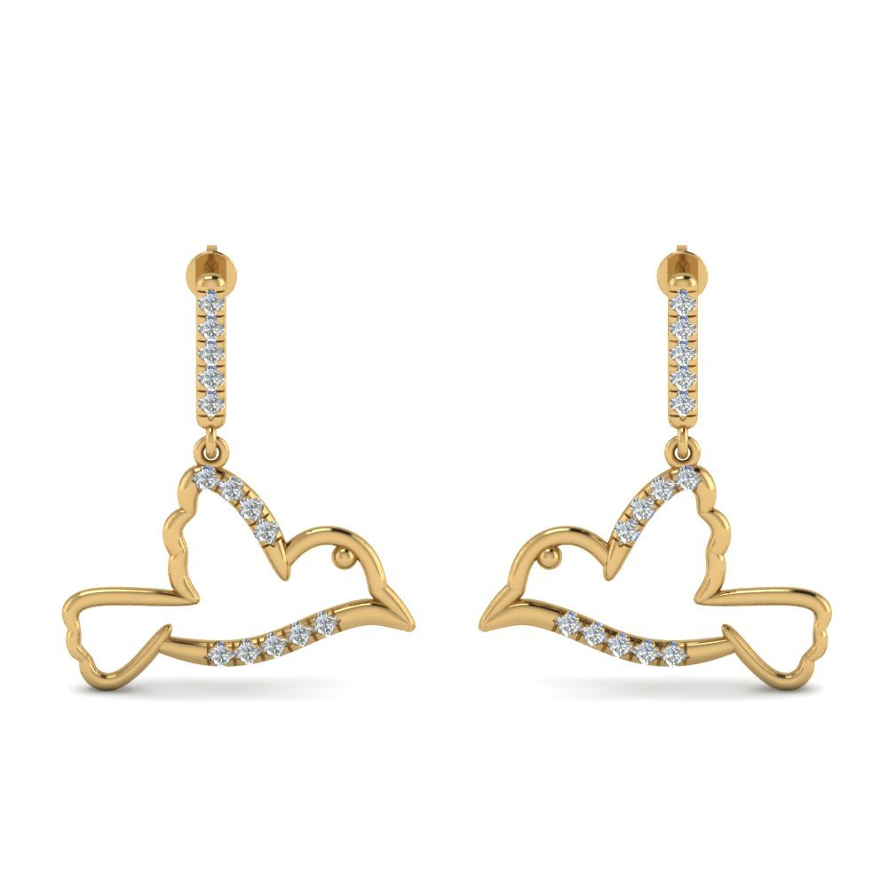 Bird Drop Diamond Earring In 14K Yellow Gold