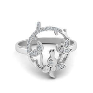 Diamond Bird Leaf Ring