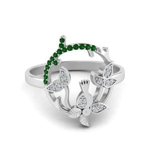 Bird Leaf Diamond Ring