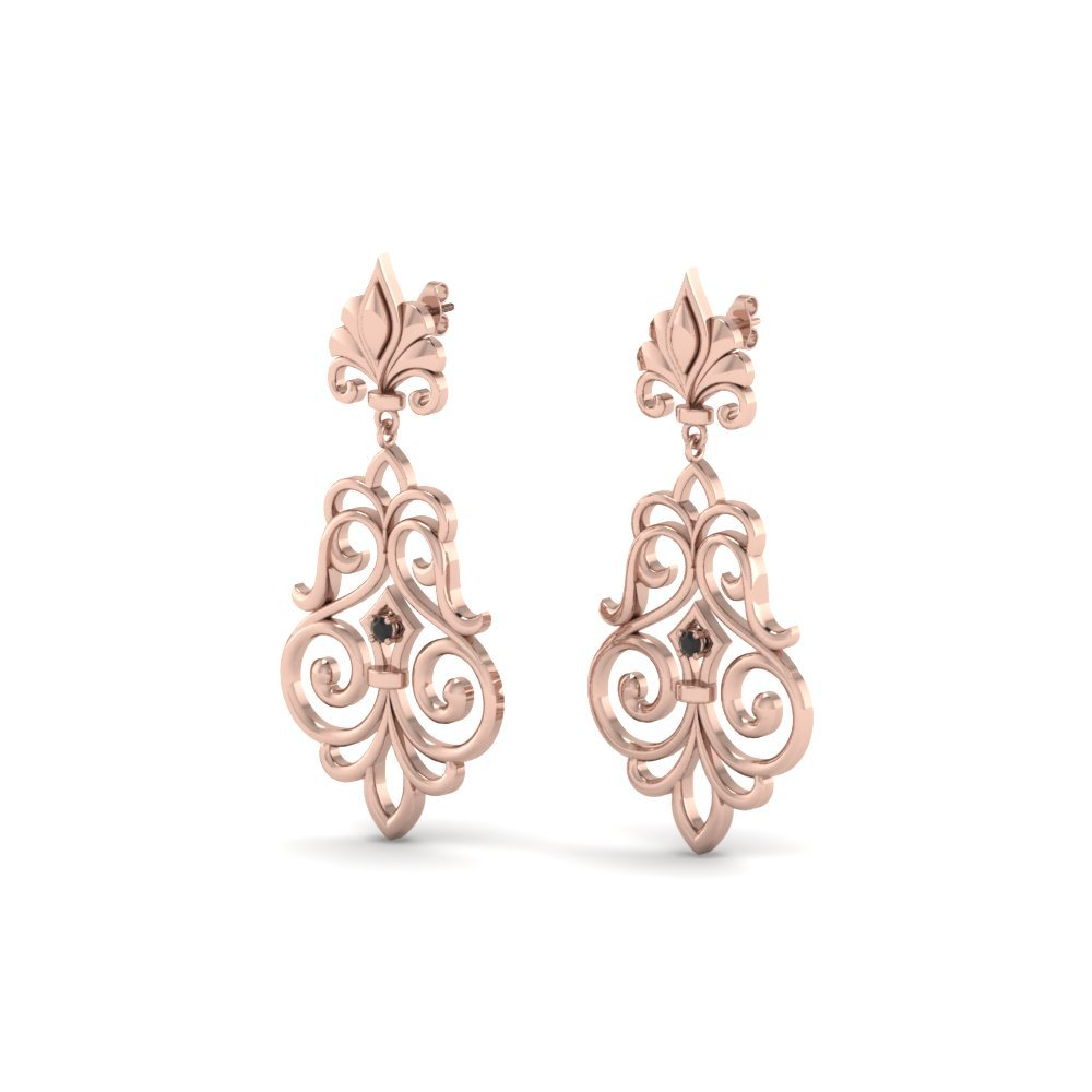 Filigree Black Diamond Earrings