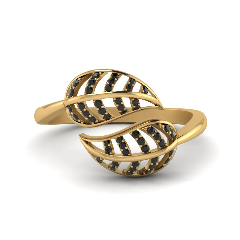 Black Diamond Leaf Bypass Ring In 18K Yellow Gold