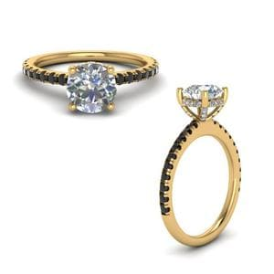 Black Diamond Prong Round Petite Ring In 18K Yellow Gold