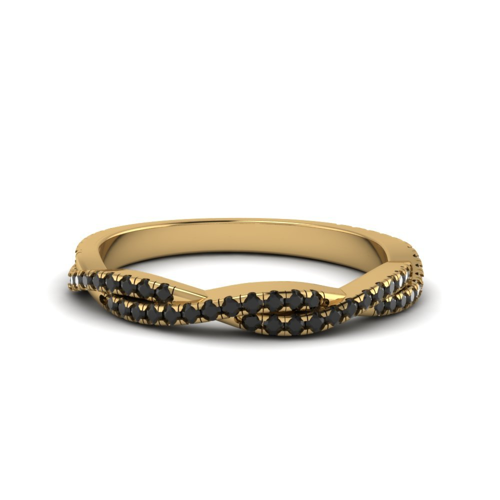 Black Diamond Twisted Wedding Band Gift For Her In 18K Yellow Gold