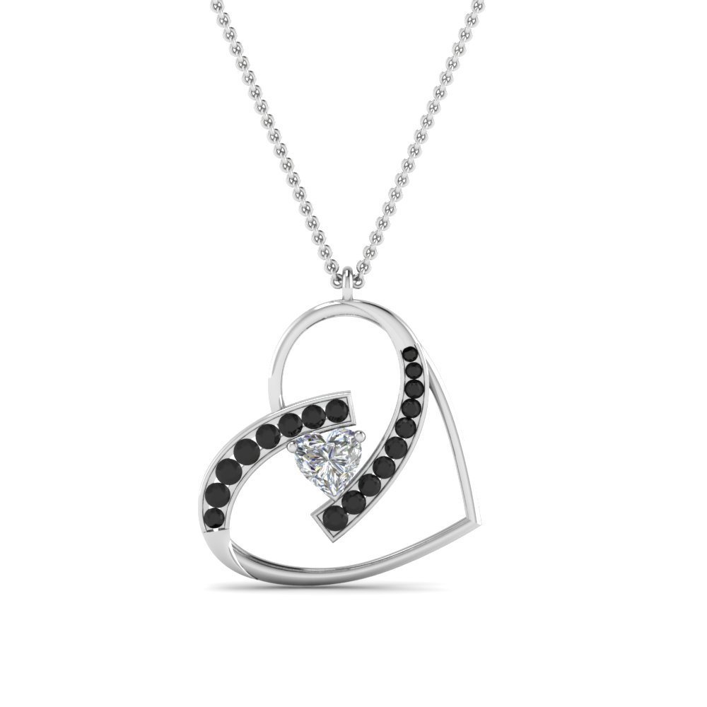 Black Diamond With Heart Pendant In 14K White Gold