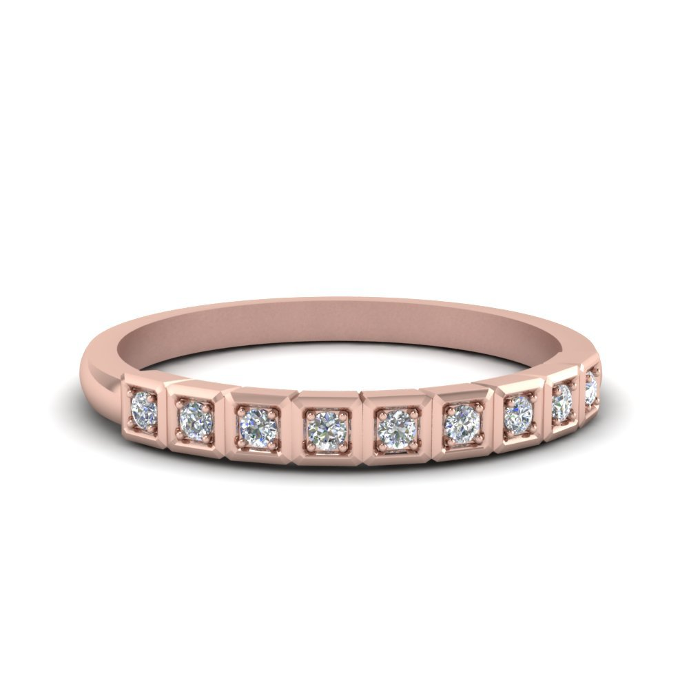 Block Pave Diamond Wedding Band In 14K Rose Gold