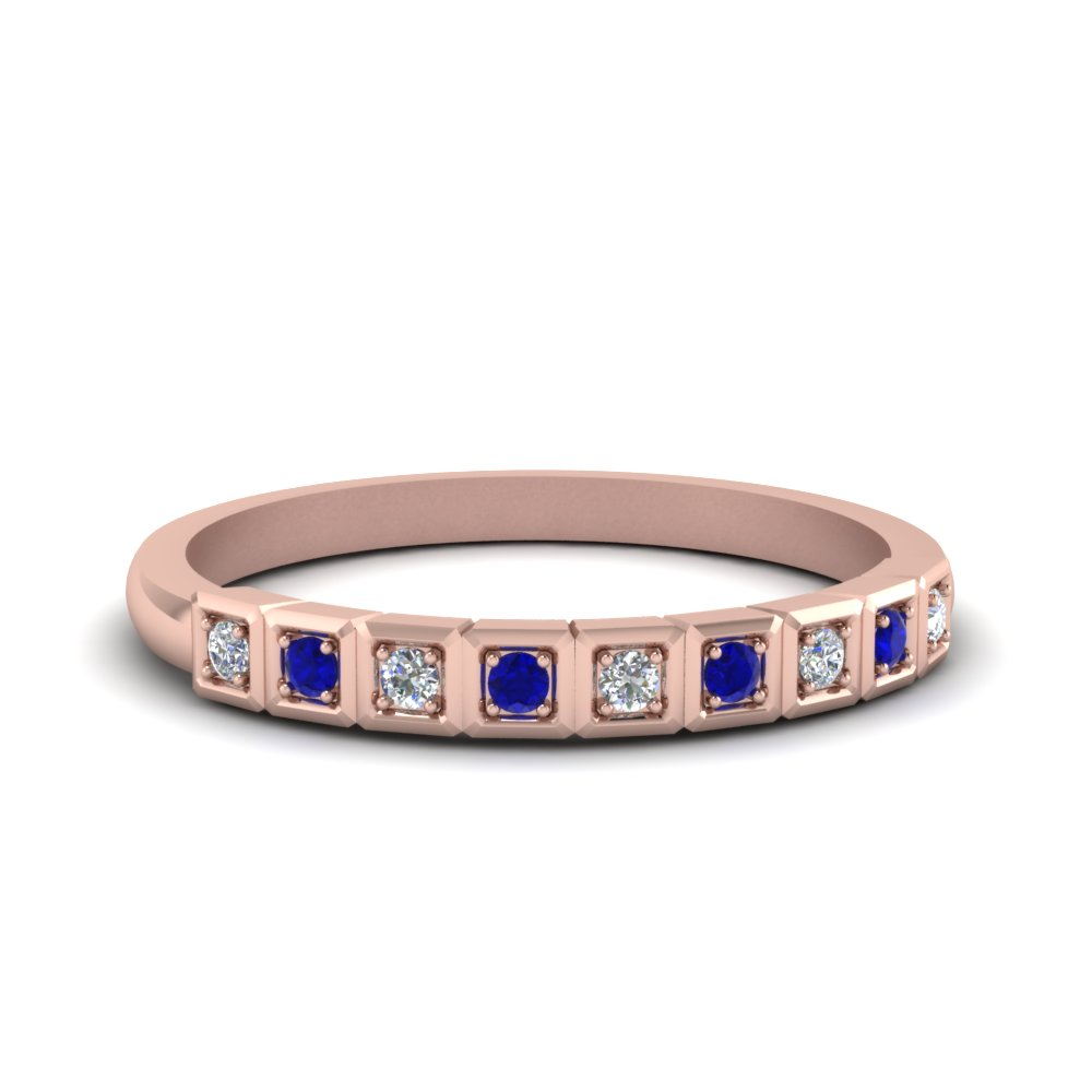 Block Pave Diamond Wedding Band With Sapphire In 14K Rose Gold