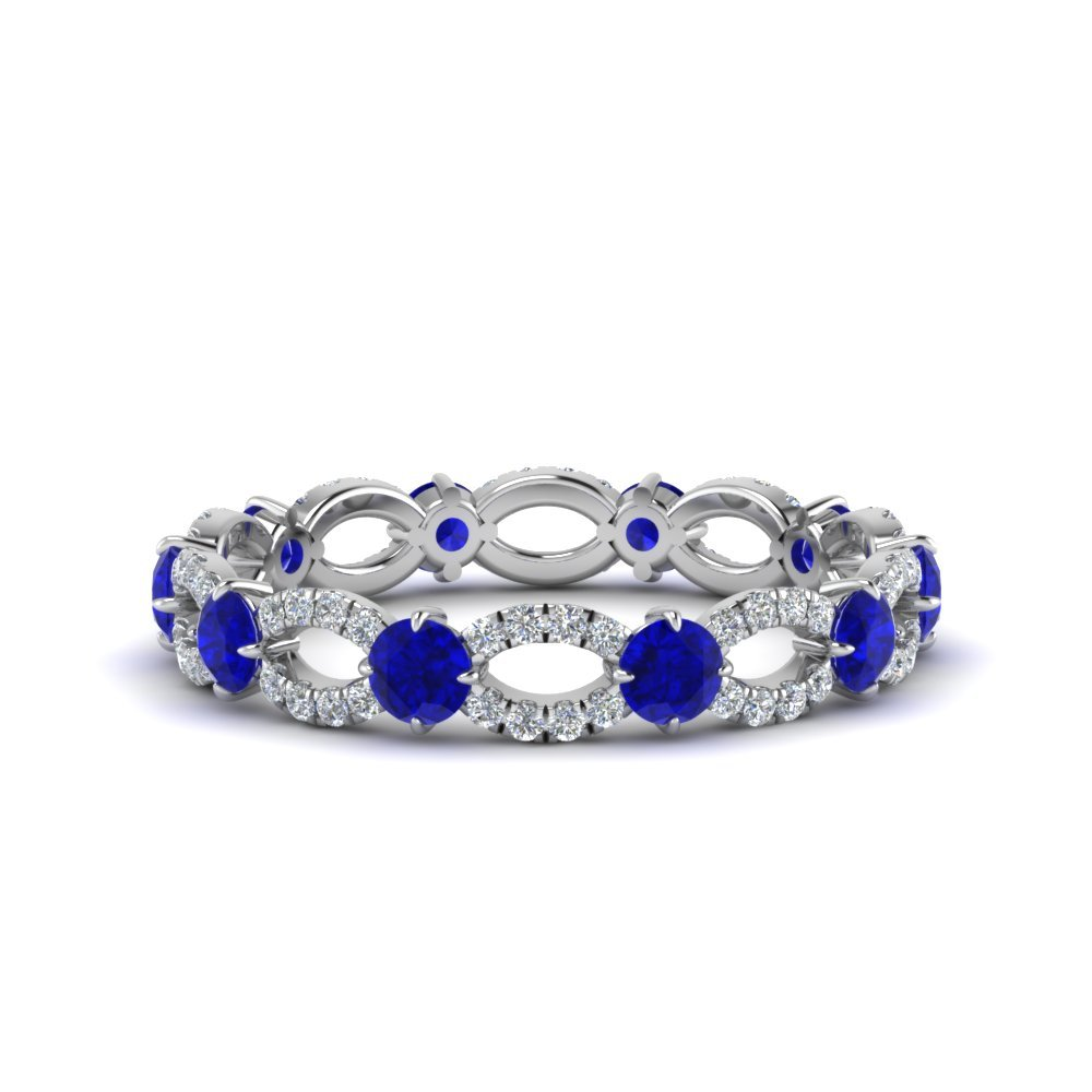 Blue Sapphire And Diamond Eternity Diamond Ring In 14K White Gold