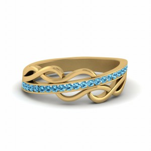 Channel Twisted Blue Topaz Band