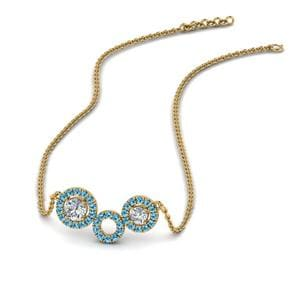 Blue Topaz Circle Pendant Necklace