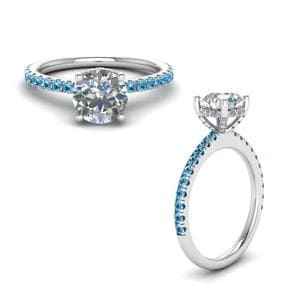 Blue Topaz Diamond Prong Round Petite Ring In 14K White Gold