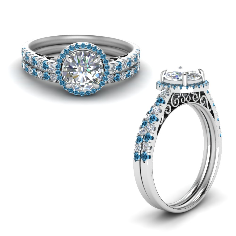 Topaz Platinum Diamond Ring Set