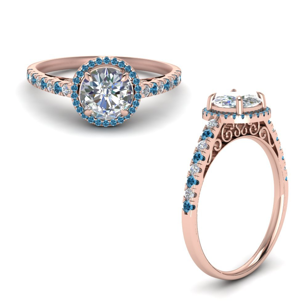 Blue Topaz Vintage Pave Halo Ring