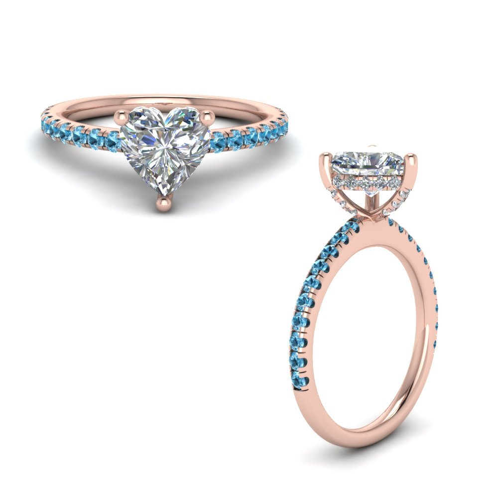 Blue Topaz Prong Heart Shaped Diamond Petite Engagement Ring In 18K Rose Gold
