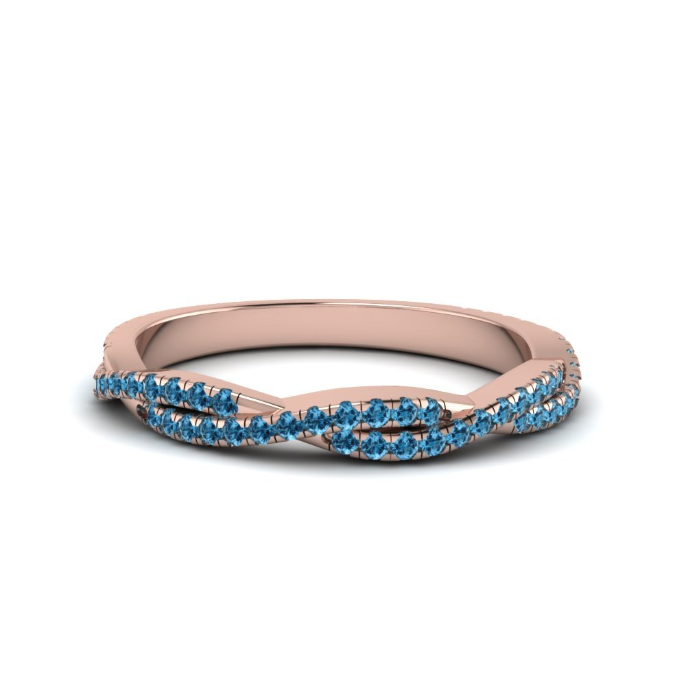 Blue Topaz Twisted Wedding Band Gift For Her In 18K Rose Gold