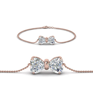 Bow Design Diamond Bracelet In 14K Rose Gold