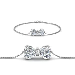 Bow Design Diamond Bracelet In 14K White Gold