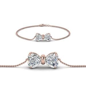 18K Rose Gold Bow Design Diamond Bracelet