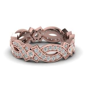 Vintage Infinity Diamond Eternity Band In 14K Rose Gold