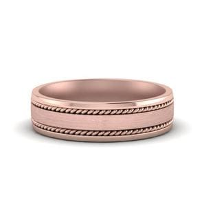 Braided Mens Wedding Ring In 14K Rose Gold