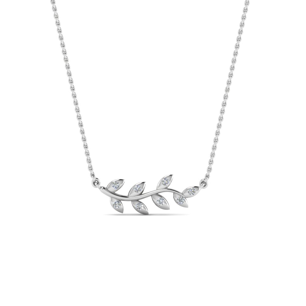 Branch Mom Diamond Necklace In 14K White Gold
