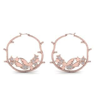 Branch Bird Hoop Earring