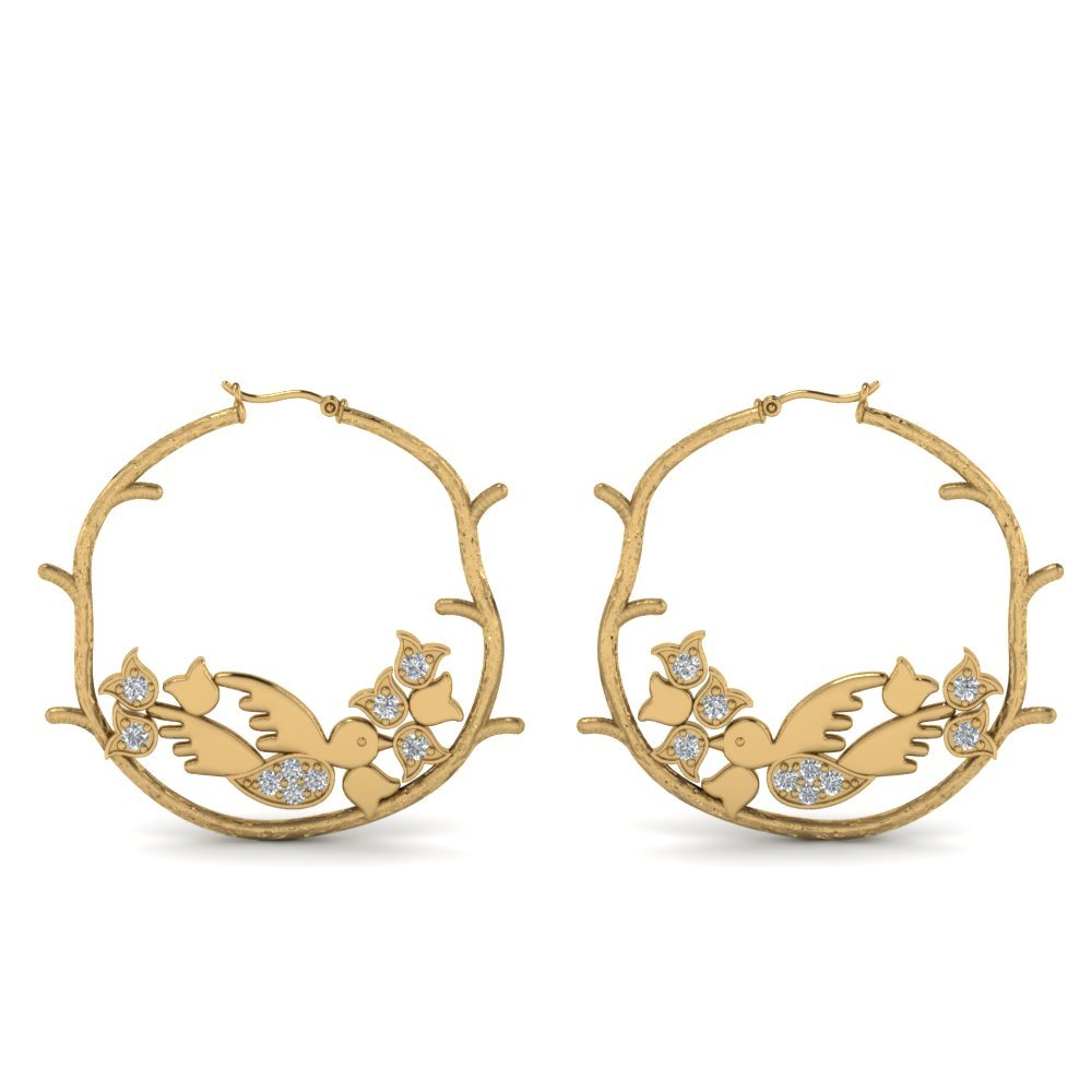 Branch Bird Hoop Diamond Earring In 14K Yellow Gold