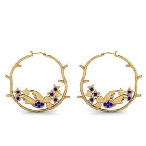 Branch Bird Hoop Sapphire Earring In 14K Yellow Gold