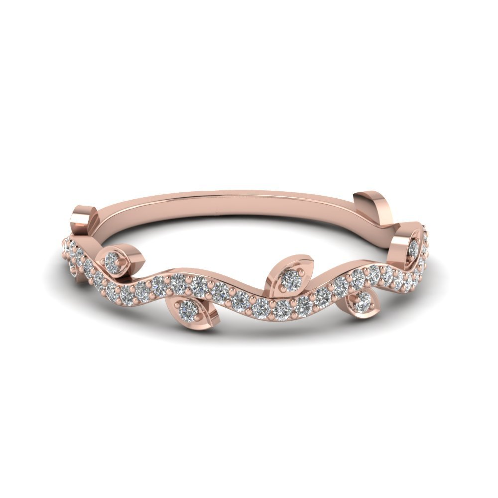 Branch Design Diamond Band In 18K Rose Gold