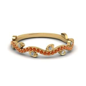 Orange Sapphire Leaf Design Band