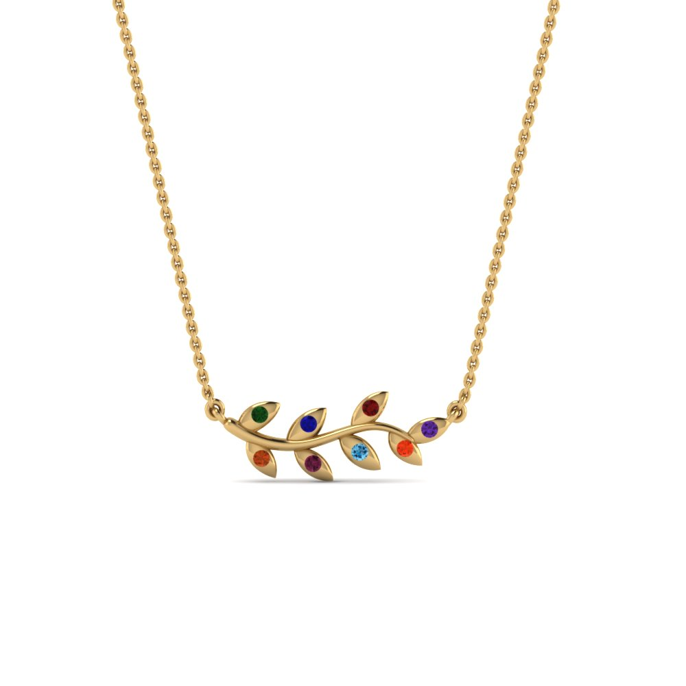 14K Yellow Gold Necklace With Gemstone