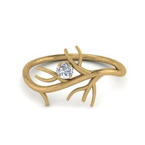 Branch Solitaire Wedding Diamond Ring In 14K Yellow Gold