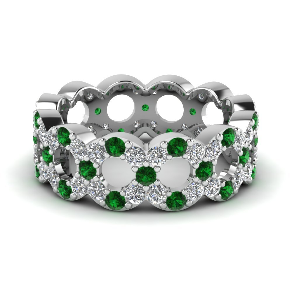 Platinum Eternity Band With Emerald
