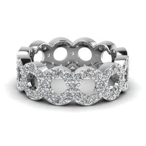 Open Circle Diamond Eternity Ring In 14K White Gold