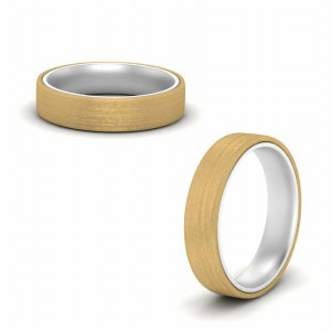 Brushed 2 Tone Mens Gold Ring