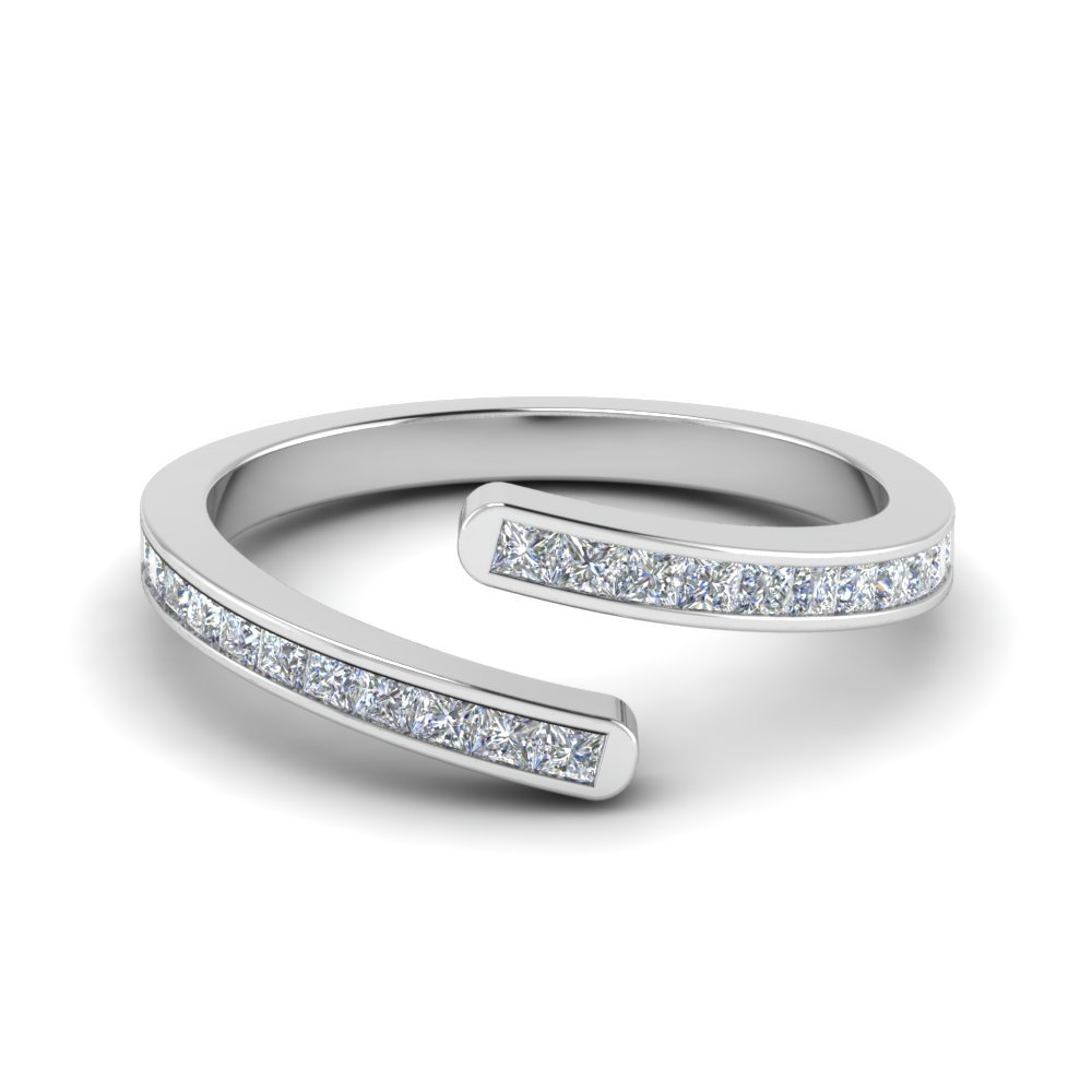 Bypass Diamond Anniversary Band In 18K White Gold