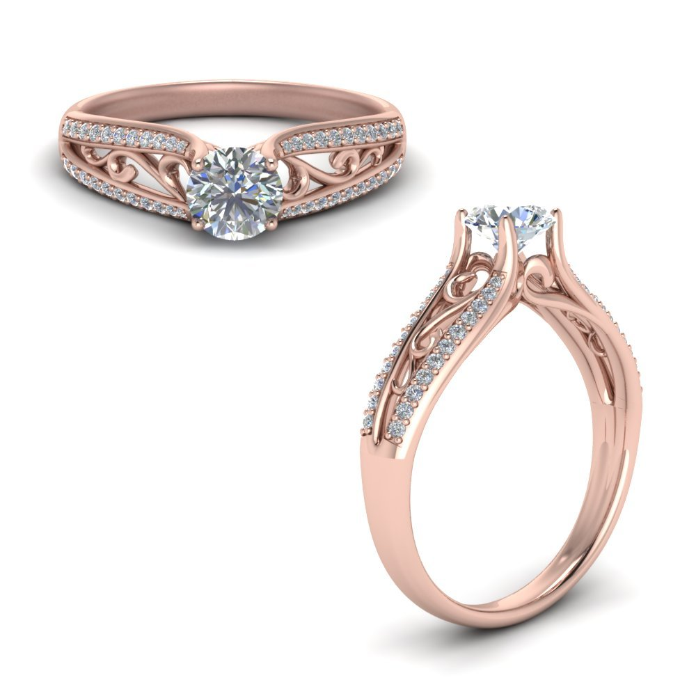 Cathedral Filigree Diamond Engagement Ring In 18K Rose Gold